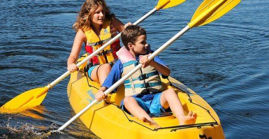 woman and baby on kayak