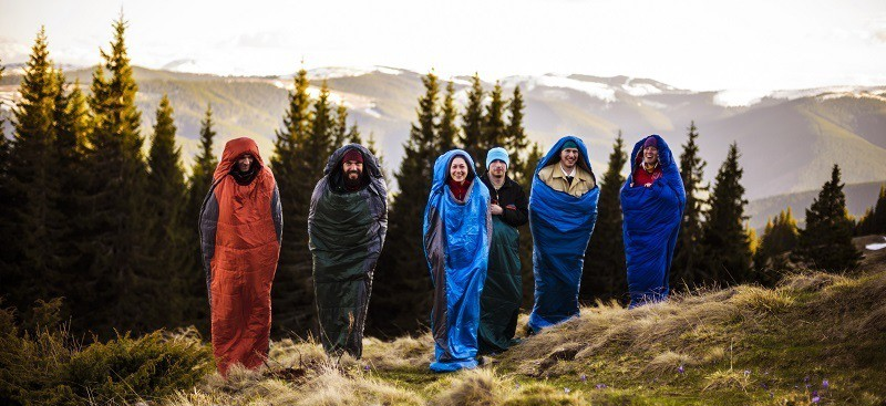 Group on Camping Trip with Lightweight & Ultralight Sleeping Bag