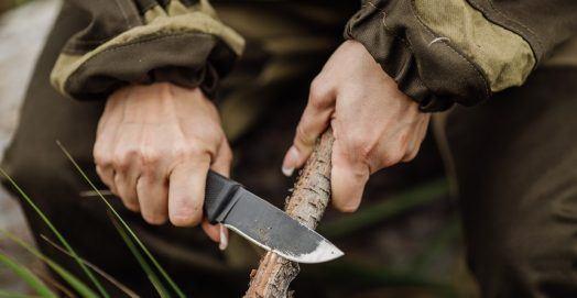 Batoning Knife on Wood