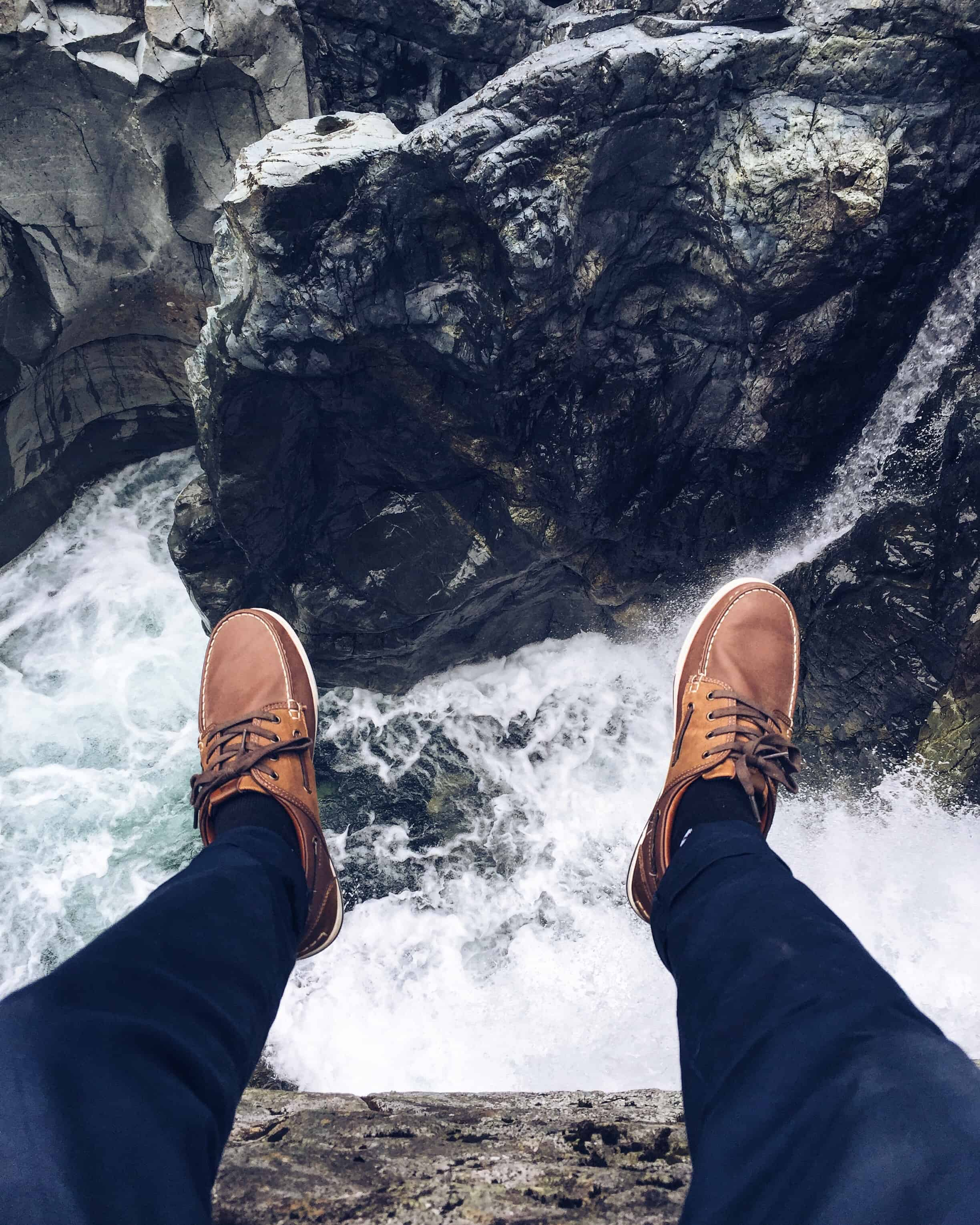 shoes and waterfall background
