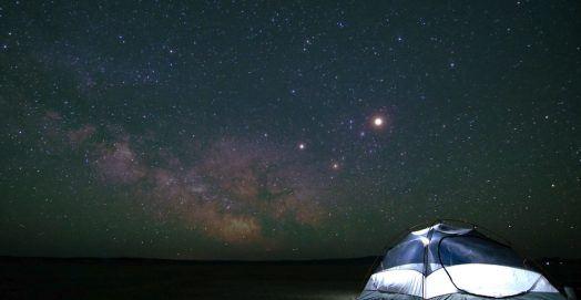 ultra light tent at night