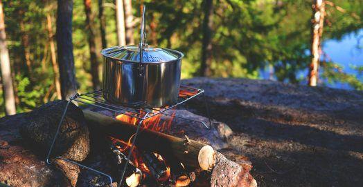 outdoor pot under wood fire