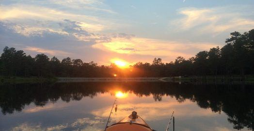 kayak in the middle of a lake
