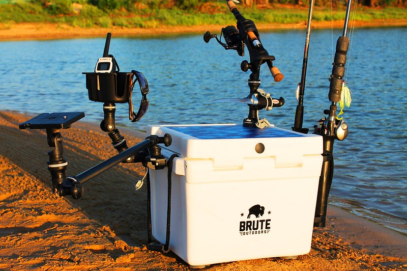 bison cooler with fishing equipments