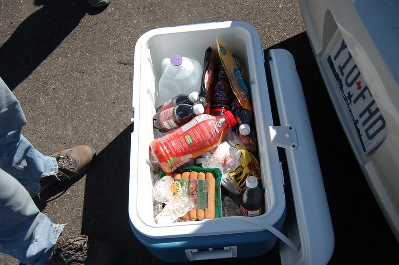 cooler full of drinks and food