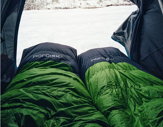 green and navy blue sleeping bag