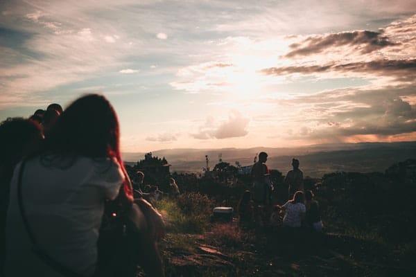 gathering-during-sunset
