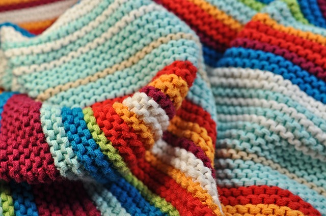 a colorful knitted wool