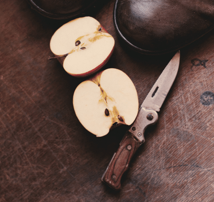 sliced-apple-beside-brown-handled-knife